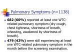 pulmonary symptoms n 1138