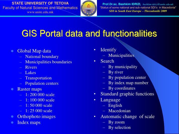 GIS Portal data and functionalities
