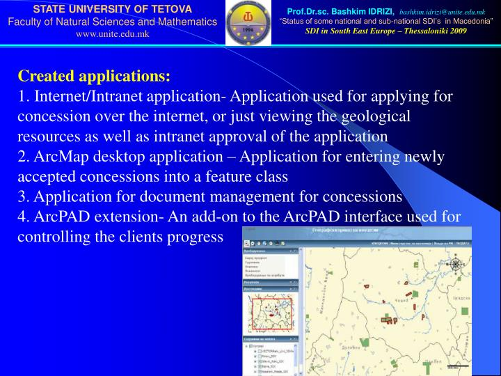 Created applications: