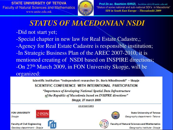 STATUS OF MACEDONIAN NSDI