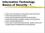 information technology basics of security 1