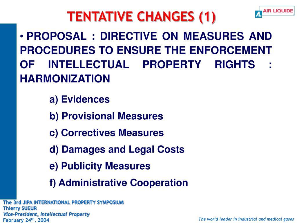 TENTATIVE CHANGES (1)