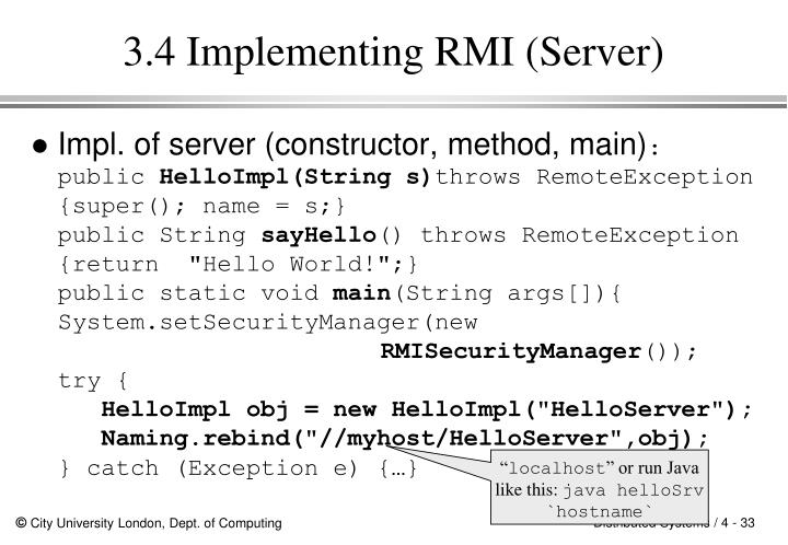 3.4 Implementing RMI (Server)