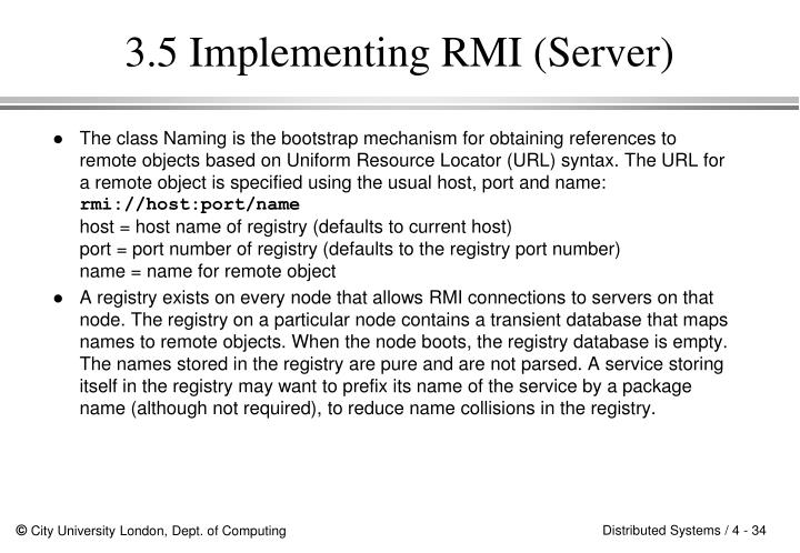 3.5 Implementing RMI (Server)