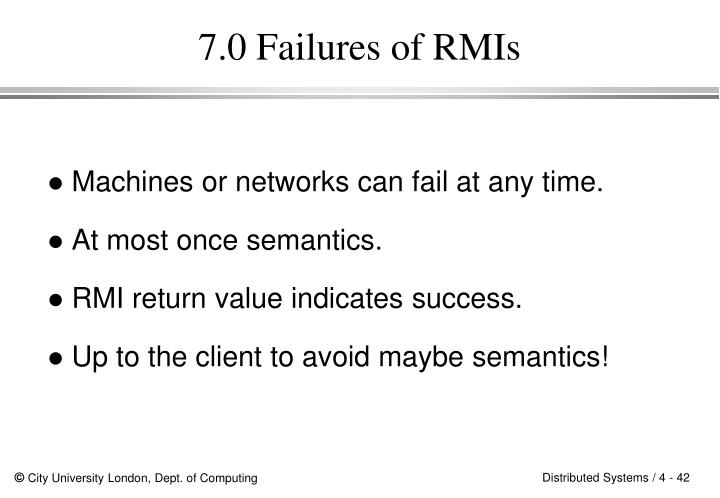7.0 Failures of RMIs