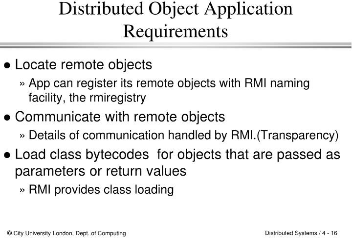 Distributed Object Application Requirements