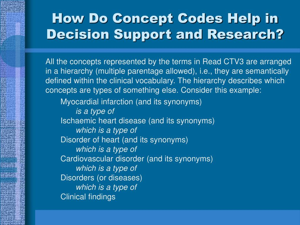 How Do Concept Codes Help in Decision Support and Research?