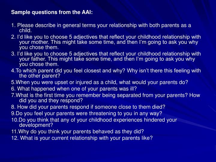 Sample questions from the AAI: