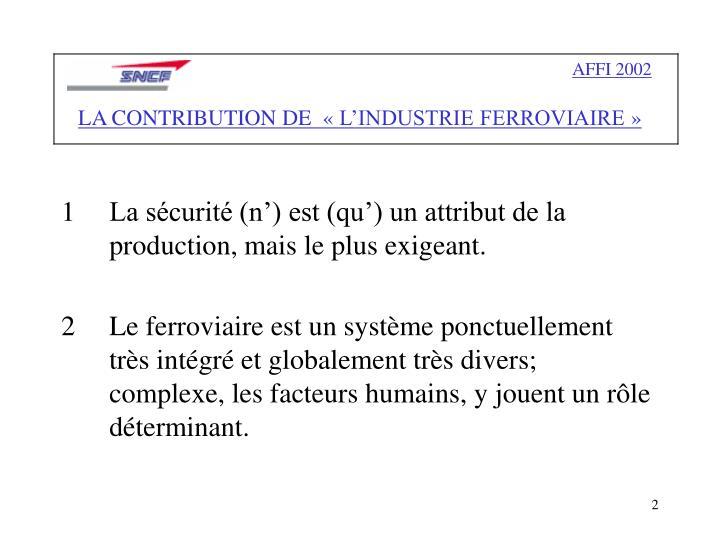 Affi 2002 la contribution de l industrie ferroviaire