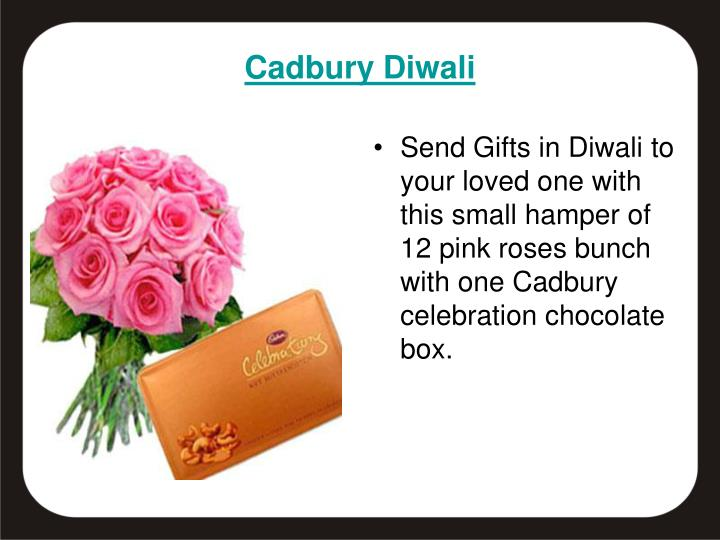 Send Gifts in Diwali to your loved one with this small hamper of 12 pink roses bunch with one Cadbury celebration chocolate box.
