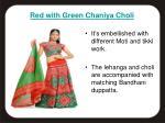 red with green chaniya choli