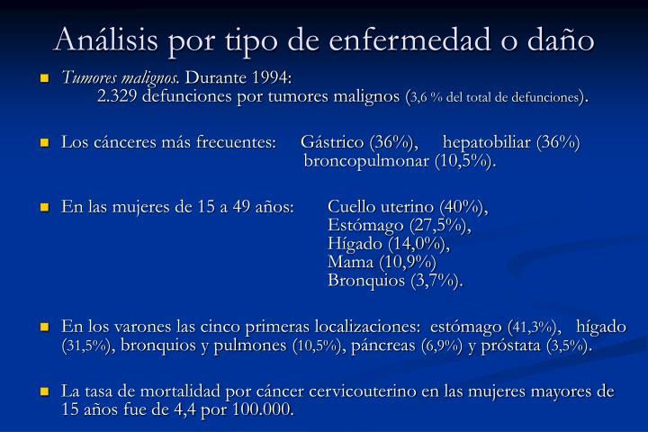 Análisis por tipo de enfermedad o daño
