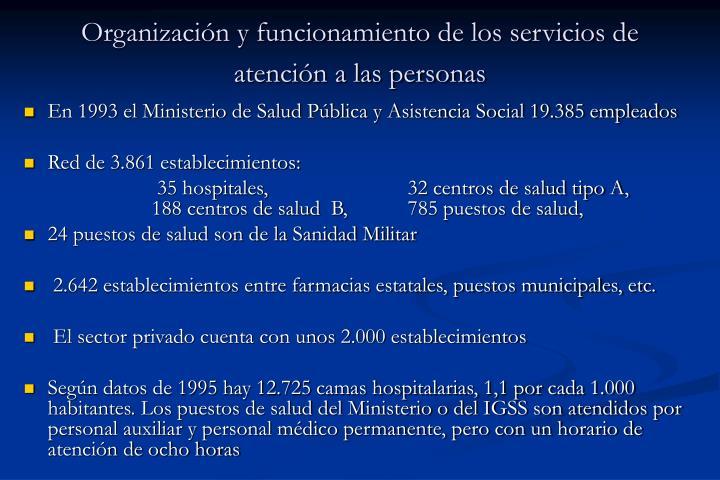 Organización y funcionamiento de los servicios de atención a las personas