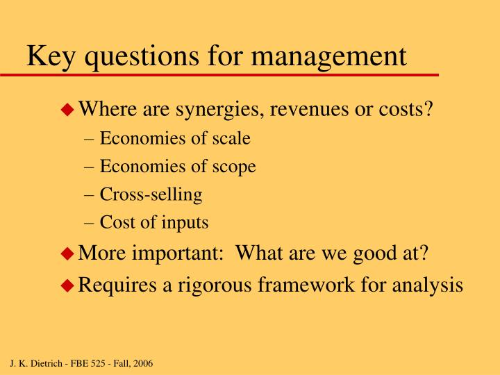 Key questions for management