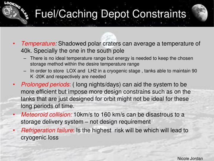 Fuel/Caching Depot Constraints