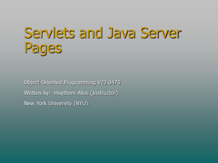 servlets and java server pages n.