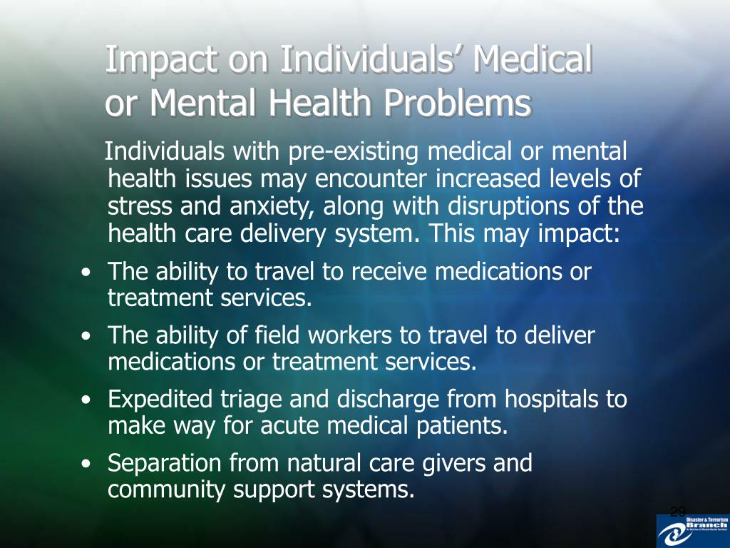 Impact on Individuals' Medical or Mental Health Problems