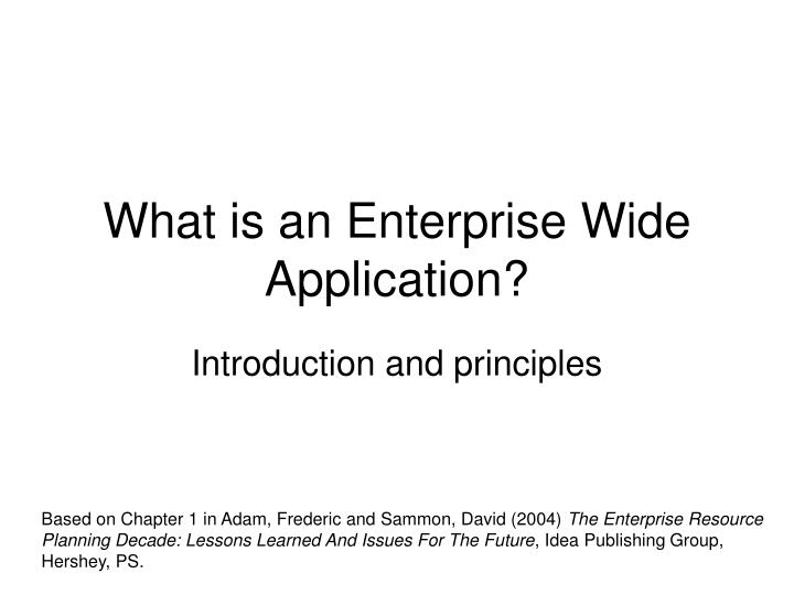 what is an enterprise wide application n.