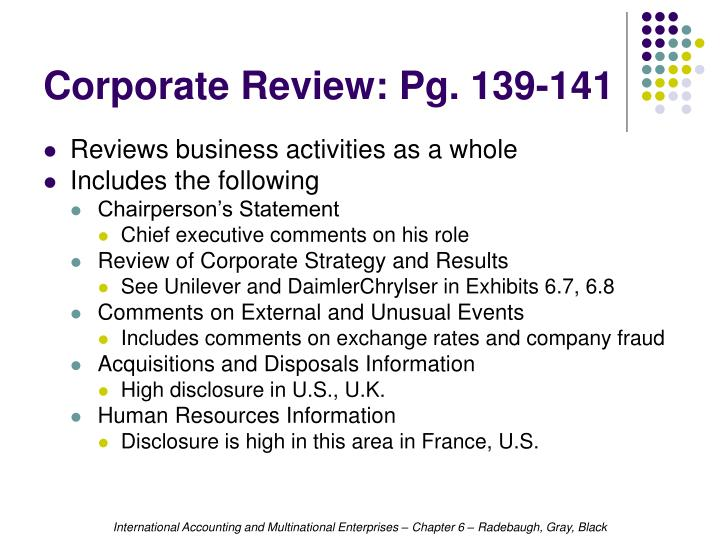 Corporate Review: Pg. 139-141