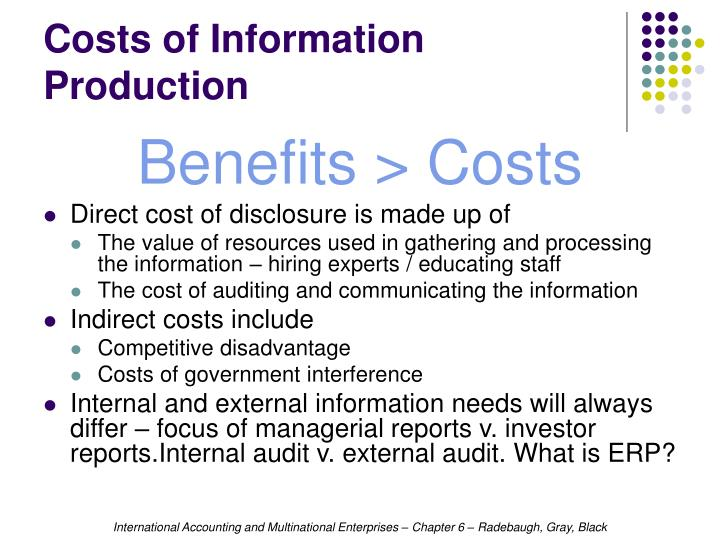Costs of Information Production