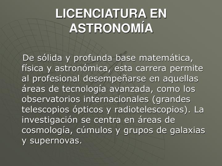 LICENCIATURA EN ASTRONOMÍA