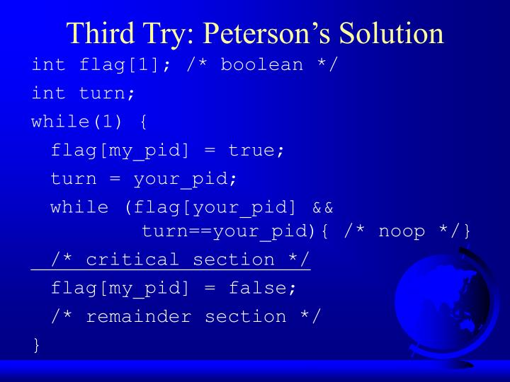 Third Try: Peterson's Solution