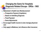 changing the game for hospitals diagnosis related groups drgs 1983