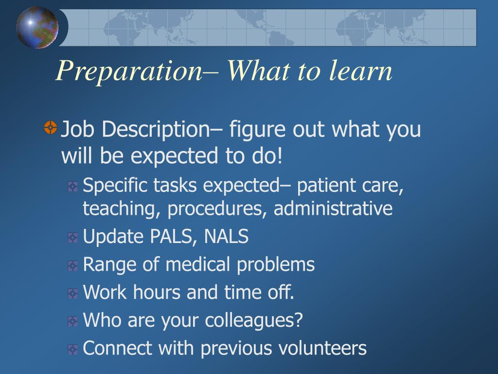 Preparation– What to learn