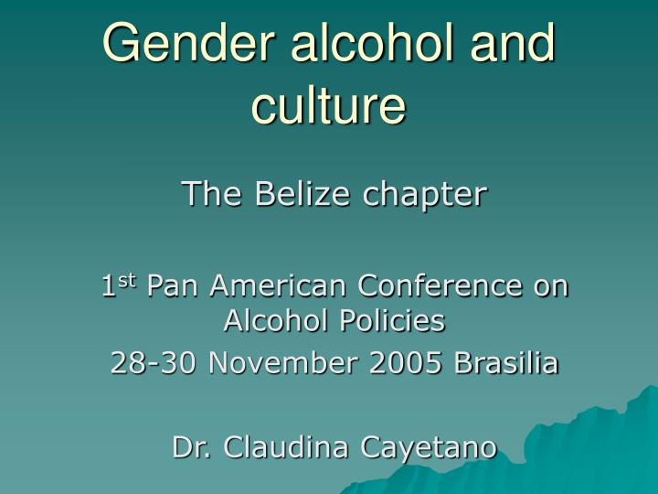 gender alcohol and culture n.
