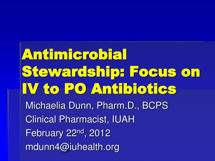 hospital antibiotic policy 2 | combating antibiotic resistance: policies to promote antimicrobial stewardship programs executive summary there is a critical need for comprehensive programs to address antimicrobial resistance (amr.
