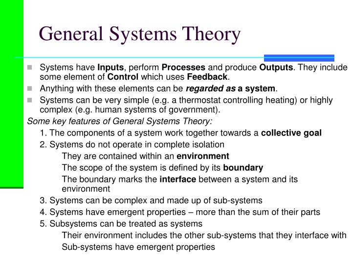 general systems theory applications for organization Perspectives on organizational change: systems and complexity theories  the concept of general systems theory  and the organization's interaction with it,.