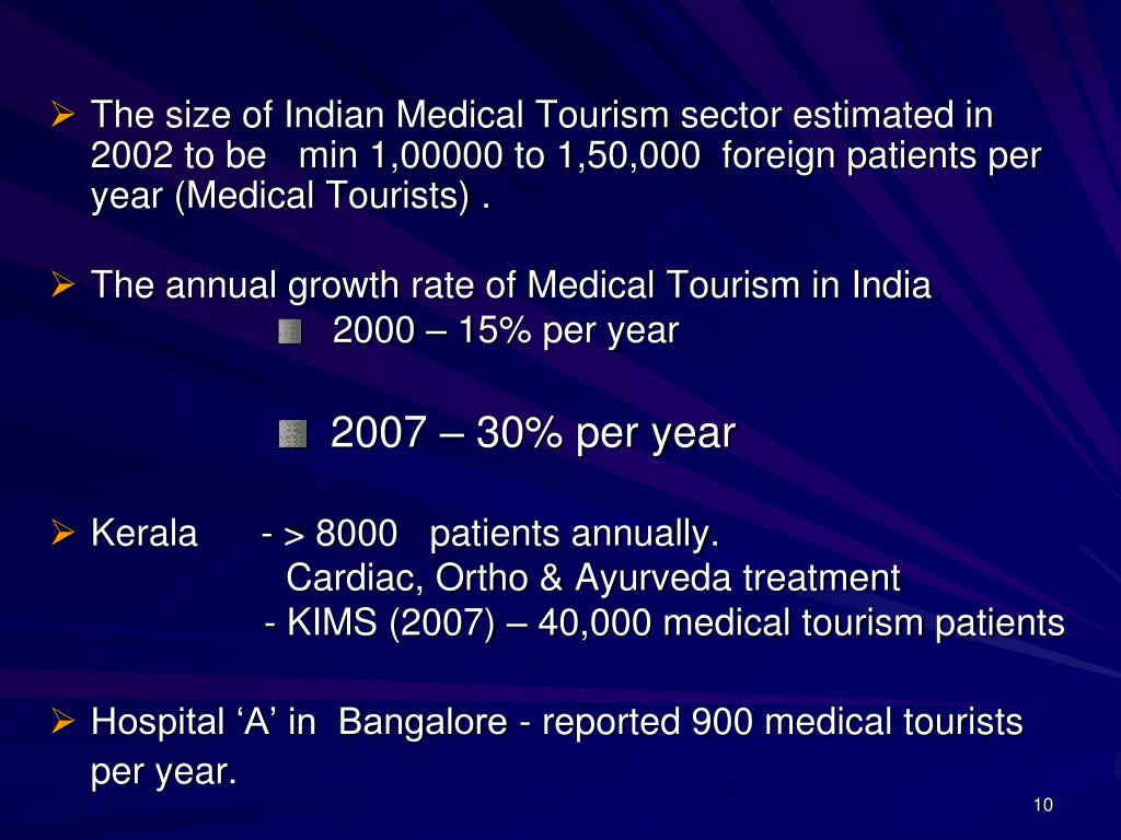 The size of Indian Medical Tourism sector estimated in 2002 to be   min 1,00000 to 1,50,000  foreign patients per year (Medical Tourists) .