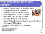 what does single payer save schools