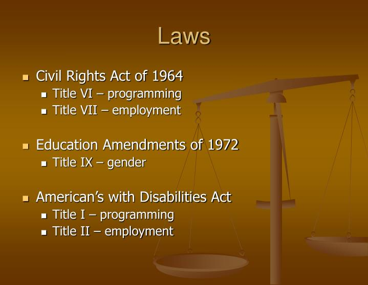 the many benefits of title ix of the educational amendment act of 1972 for american women ~title ix of the educational amendments of 1972 to the 1964 civil rights act the title ix coordinator has overall responsibility for title ix compliance, including training, education, and administration of grievance procedures.