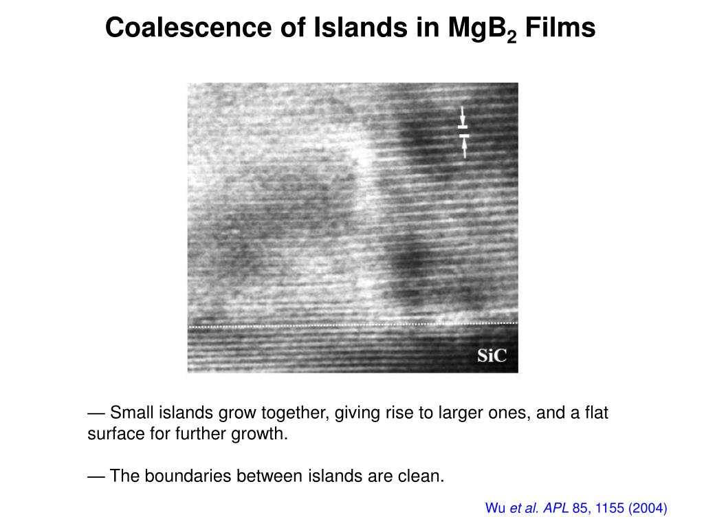 Coalescence of Islands in MgB