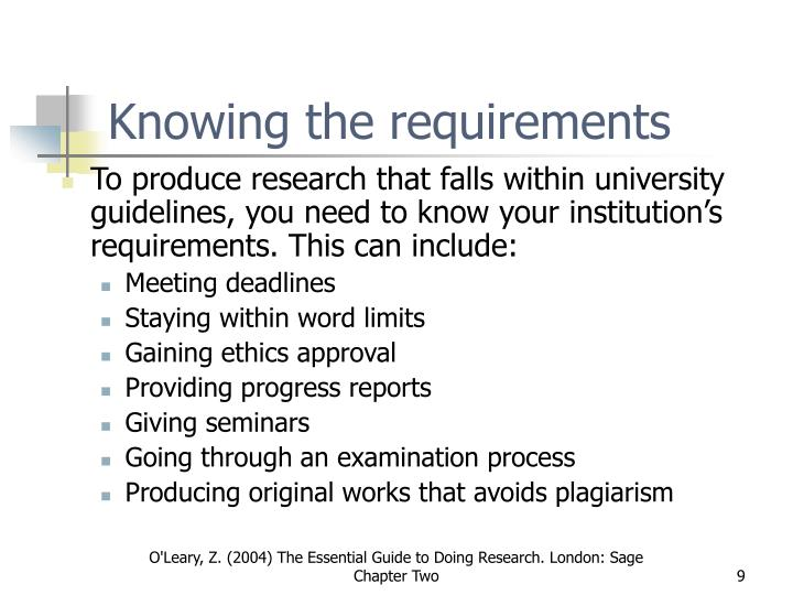 Knowing the requirements