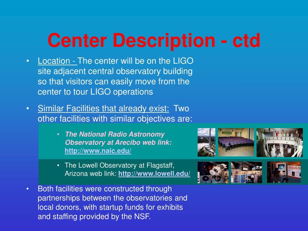 Center Description - ctd