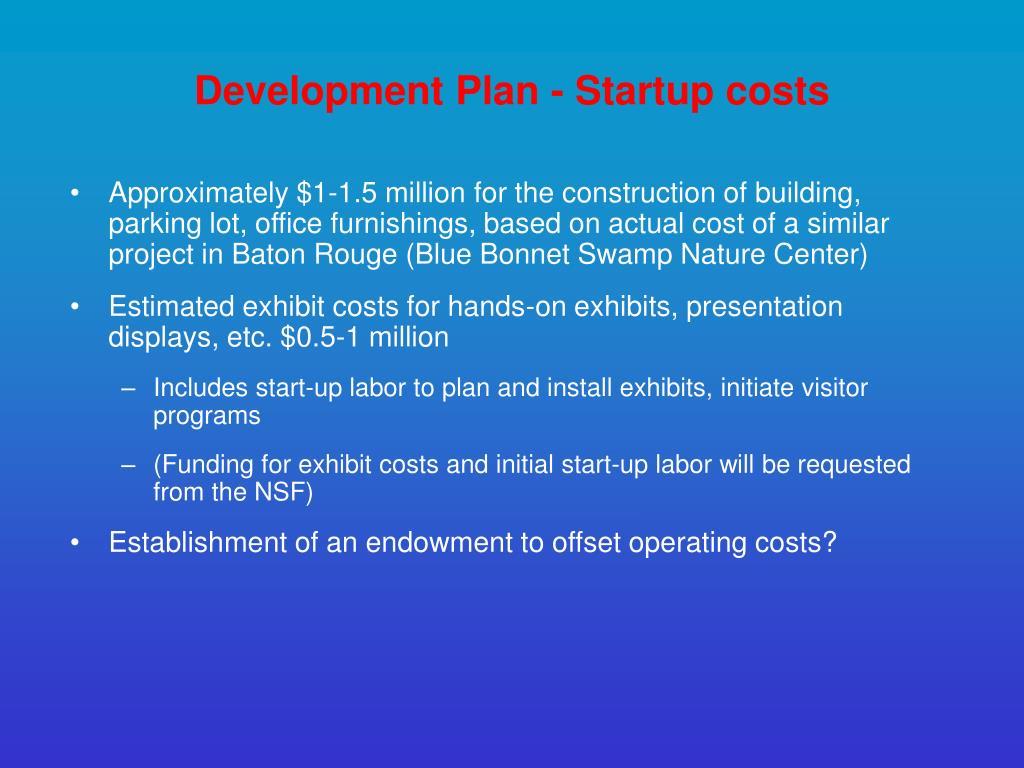 Development Plan - Startup costs