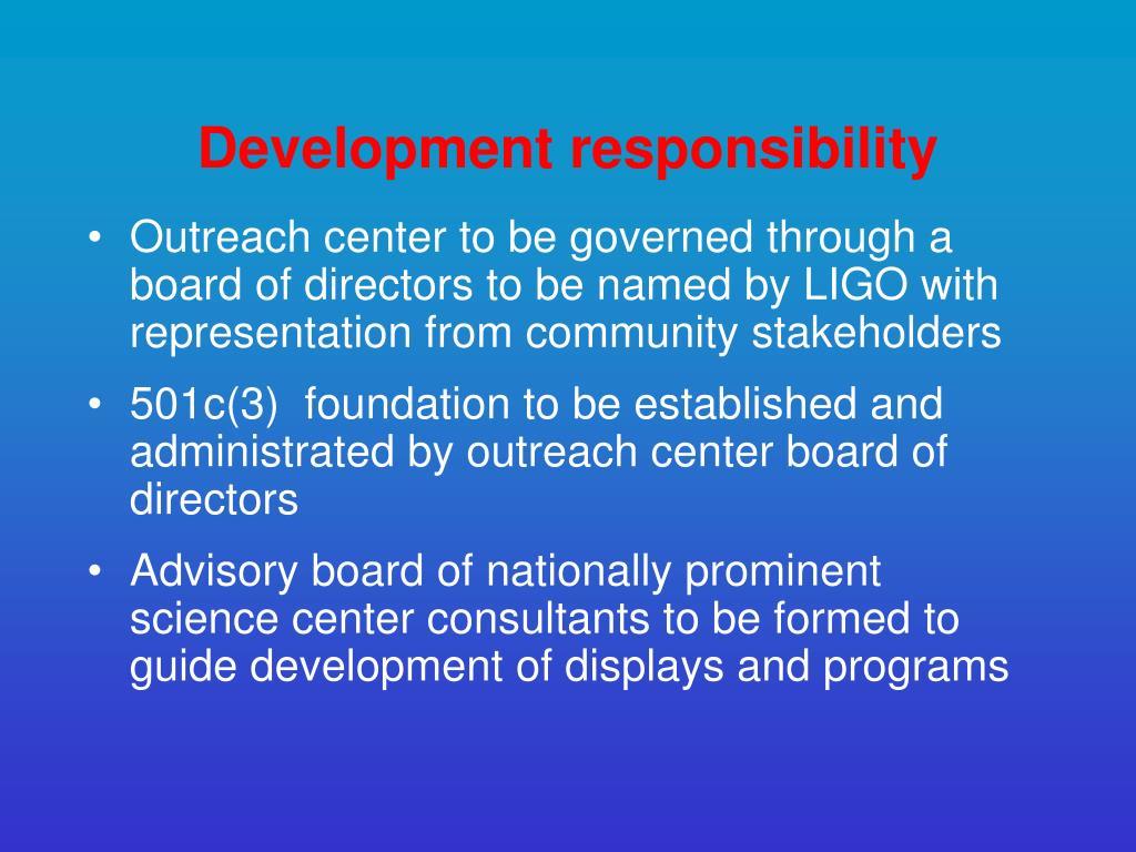 Development responsibility