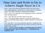 time line and work to do to achieve single payer in ca