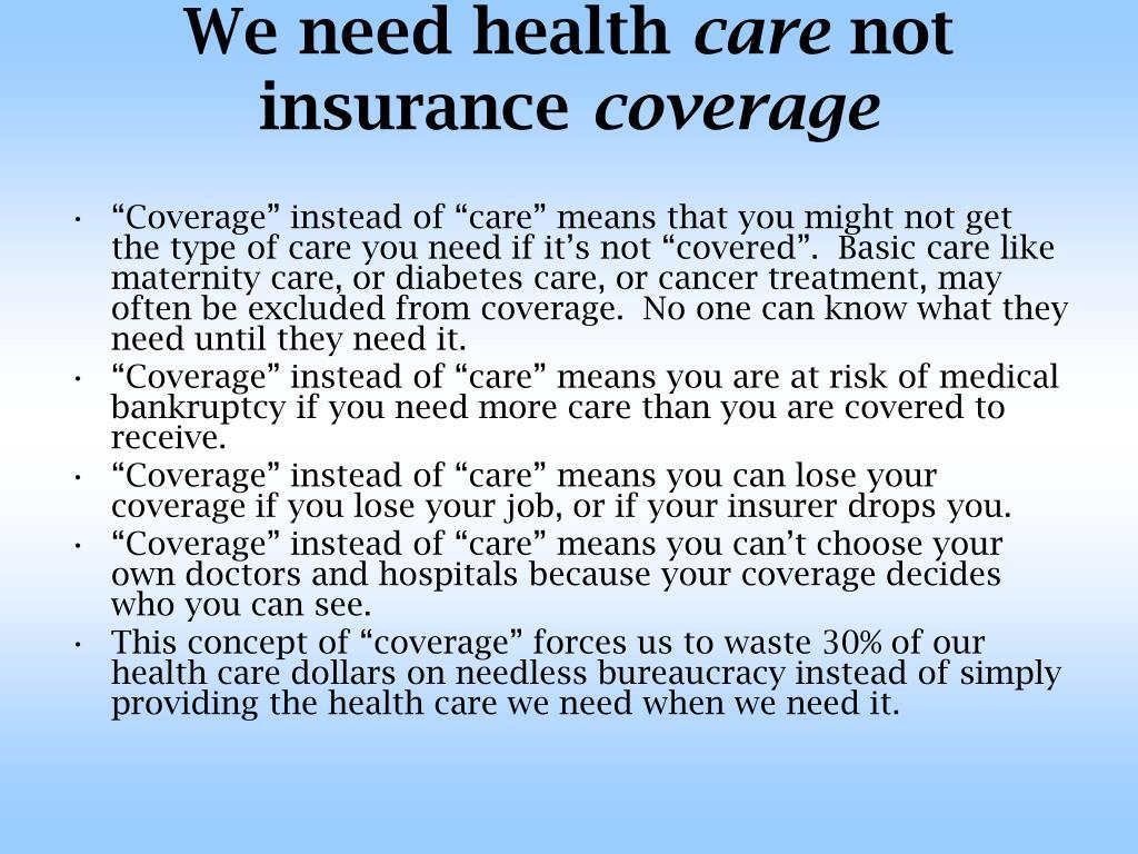 We need health
