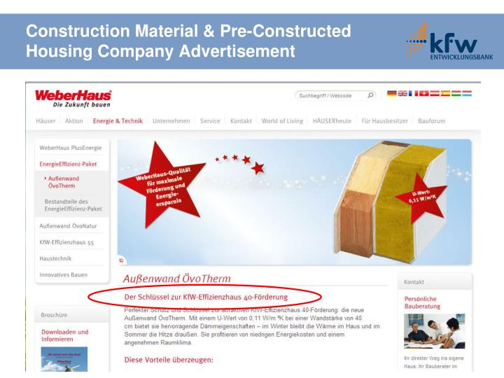 Construction Material & Pre-Constructed Housing Company Advertisement