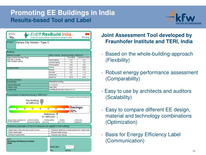 Joint Assessment Tool developed by Fraunhofer Institute and TERI, India