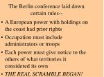 the berlin conference laid down certain rules