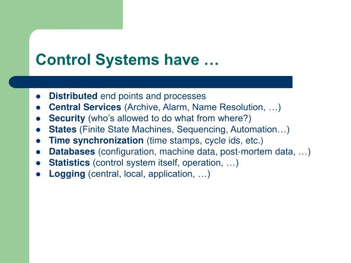 Control systems have