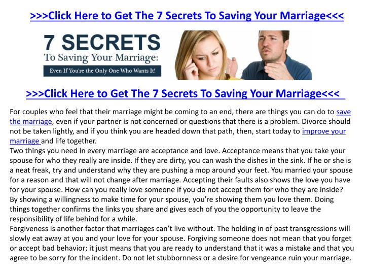 >>>Click Here to Get The 7 Secrets To Saving Your Marriage