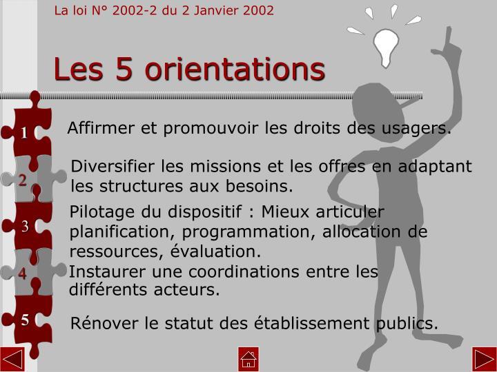Les 5 orientations