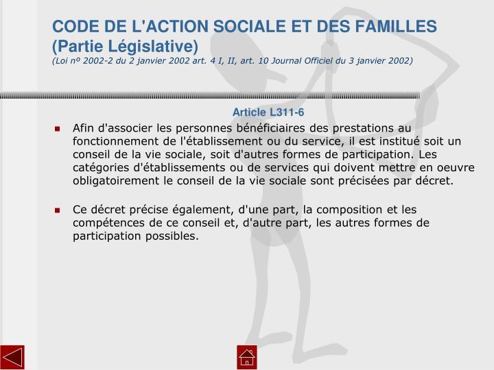 CODE DE L'ACTION SOCIALE ET DES FAMILLES