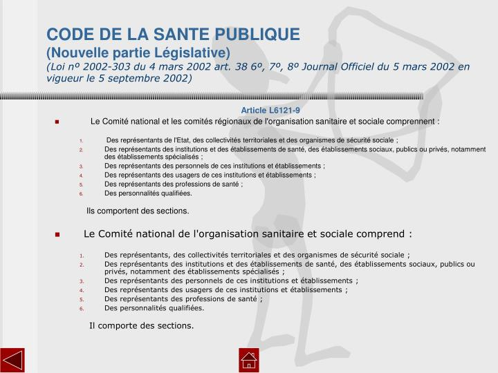 CODE DE LA SANTE PUBLIQUE