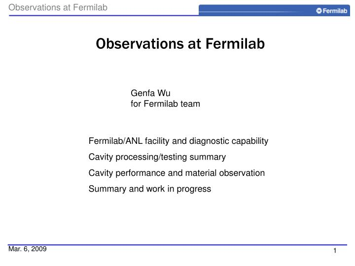 observations at fermilab n.